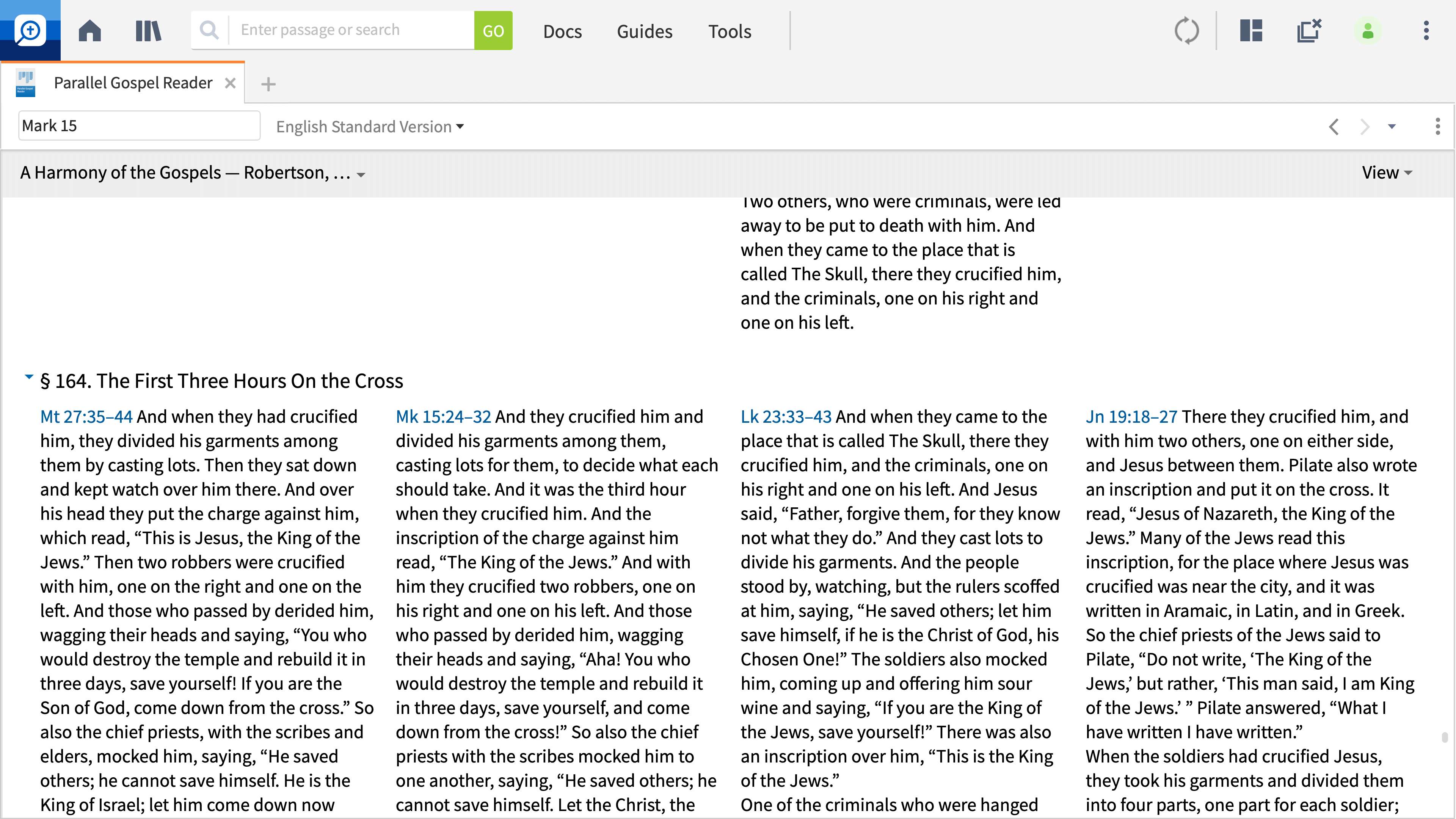 Parallel Gospel Reader Interactive
