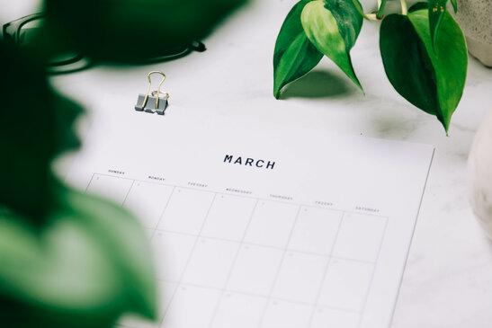 Printed March Calendar Behind Greenery