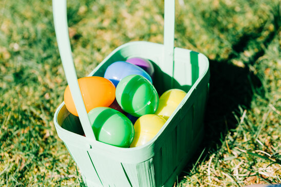 Basket Full of Eggs from an Easter Egg Hunt