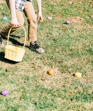 Boy Grabbing Easter Eggs