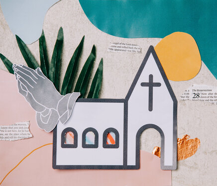 Church Building Paper Craft Collage