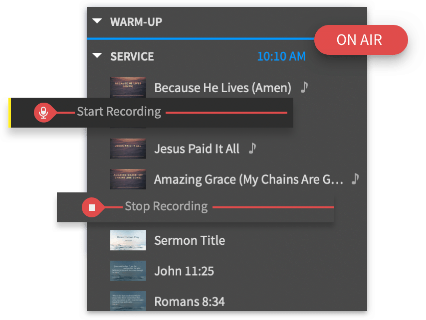 Proclaim Sermon Recording Screen Shot