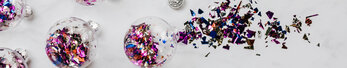 Clear Ornaments Filled with Metallic Confetti