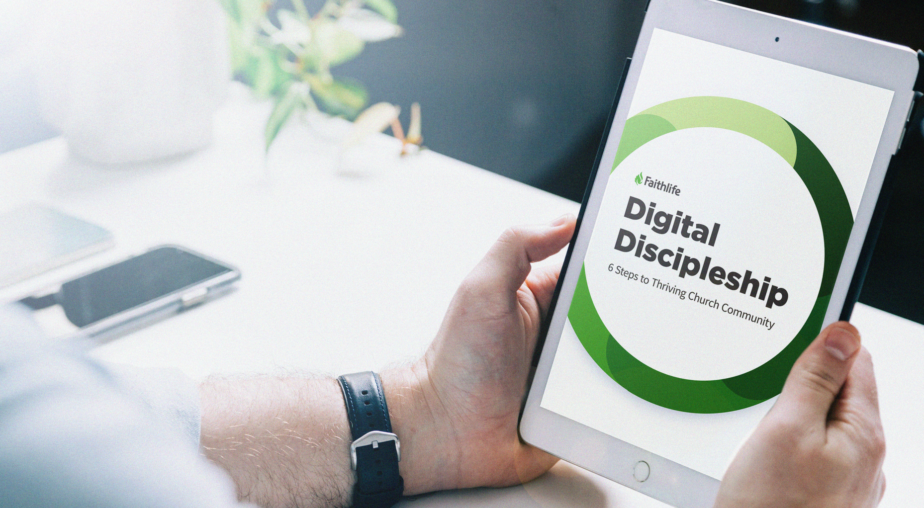 Digital Discipleship guide on an iPad