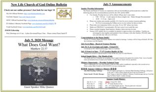 2020-07-05 Online Bulletin