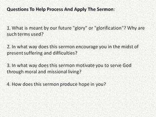 Sermon Follow Up