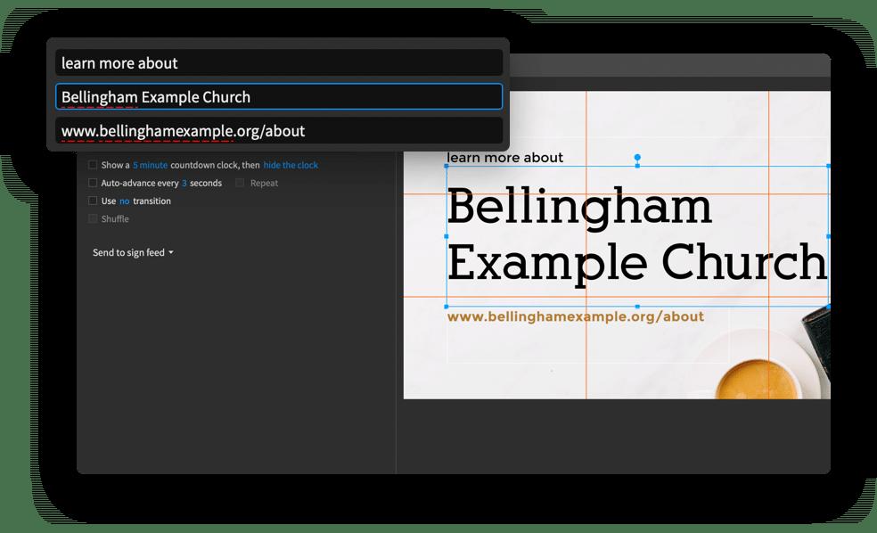 Proclaim screen shot adding church website