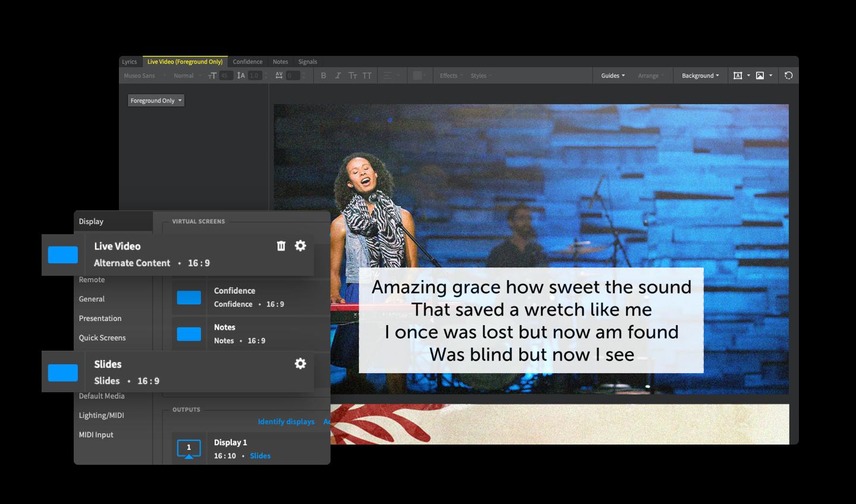 Proclaim screen shot of virtual screens