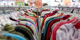 Thrift store clothing racks