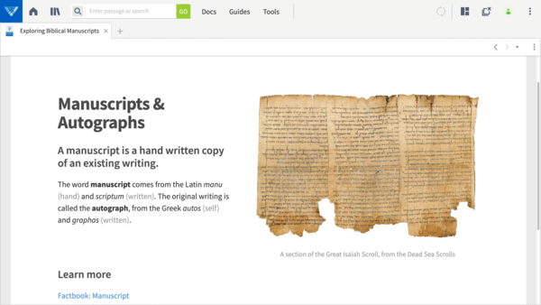Exploring Biblical Manuscripts Interactive