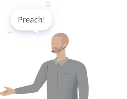 Graphic of man saying 'Preach'