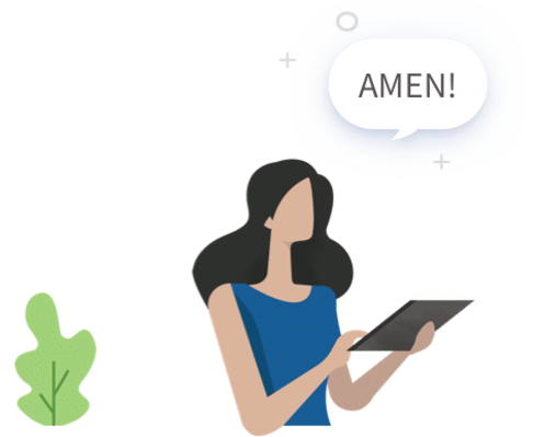 Graphic of woman saying 'Amen'