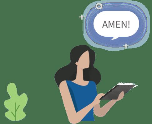 Graphic of woman saying 'Amen'