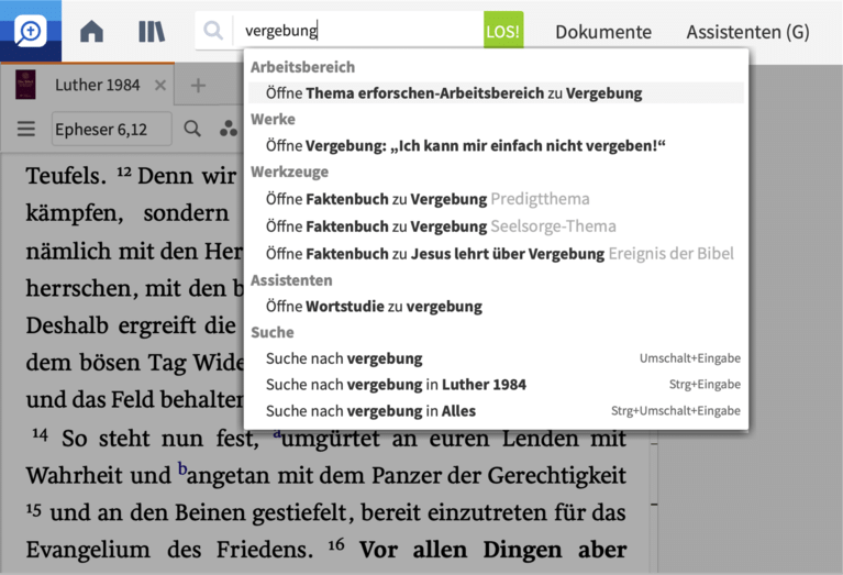 Logos Bibelsoftware Faktenbuch Screenshot