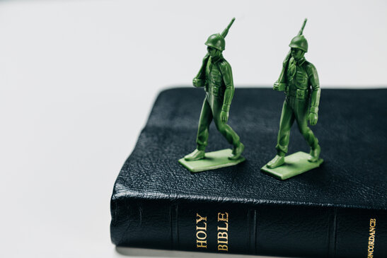 Toy Soldiers Marching on the Bible