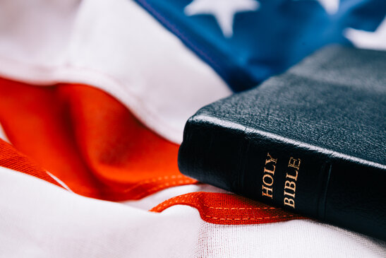 Bible on an American Flag