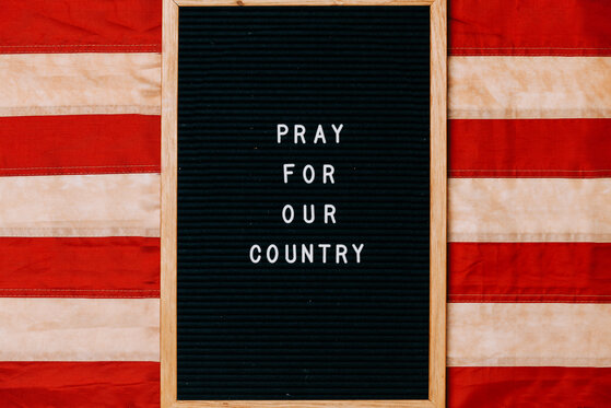 Pray for Our Country Letter Board on a Vintage American Flag