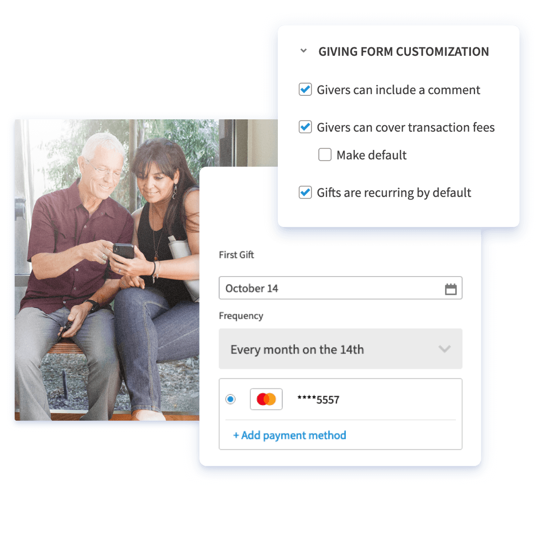 Customizable giving form with recurring giving and giver-covered fees enabled by default