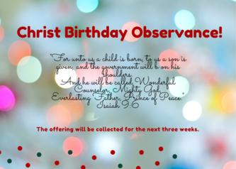 Christ Birthday Offering!