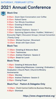 2021 Annual Conference Schedule