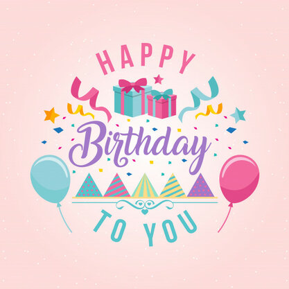 Surprise Theme Happy Birthday Card Illustration 1344-199
