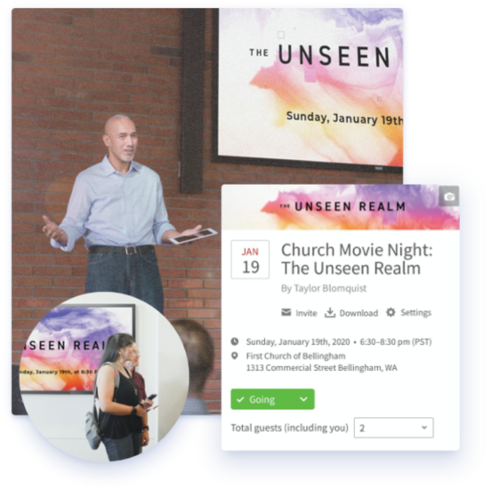 Screen shot of Faithlife Equip being used to schedule a movie night for Unseen Realm
