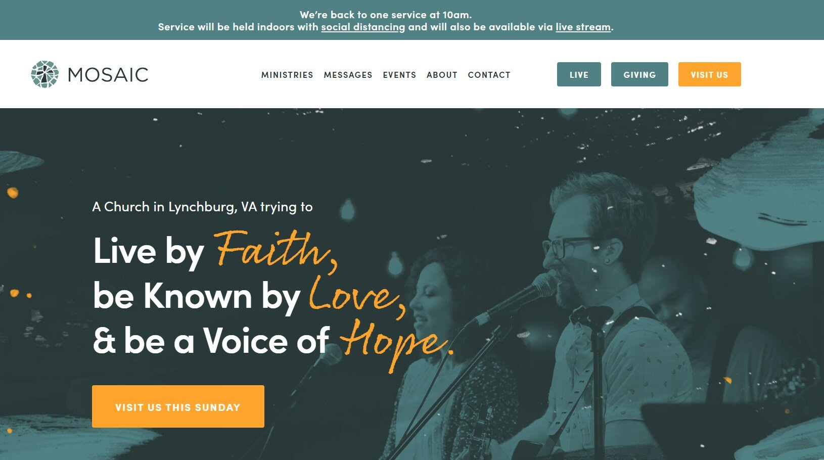 Mosaic Church has one of our favorite church websites.