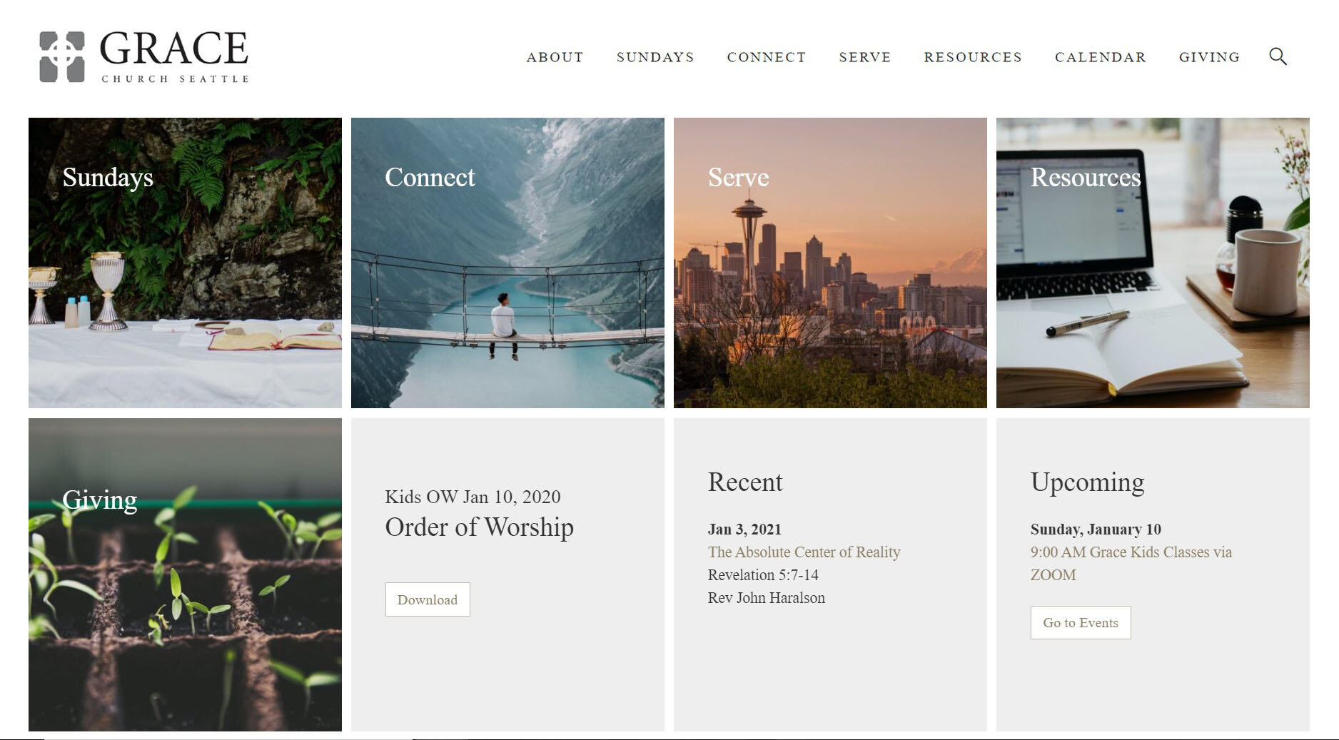 Grace Church Seattle has one of our favorite church websites.
