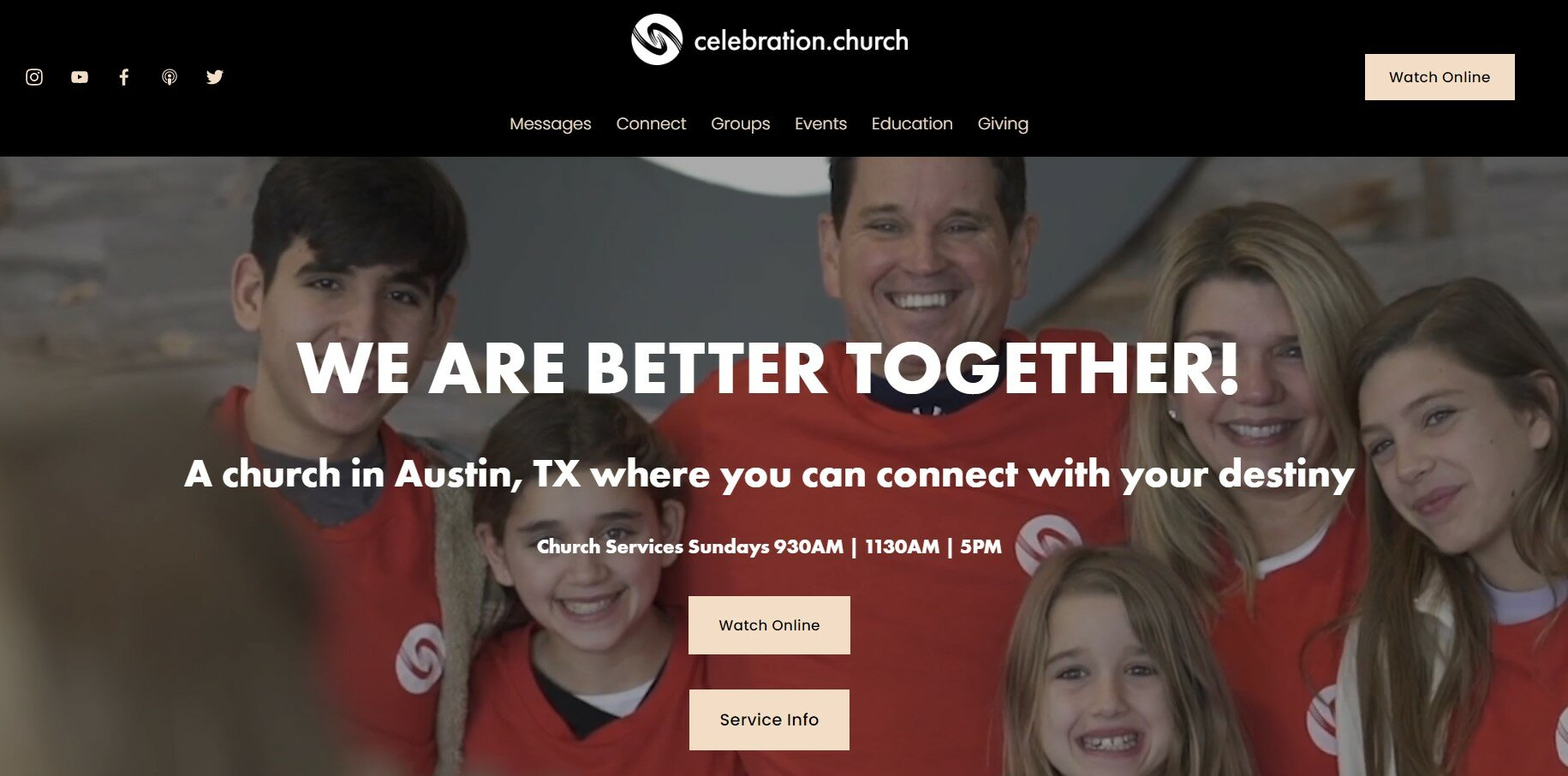 Celebration Church has one of our favorite church websites.