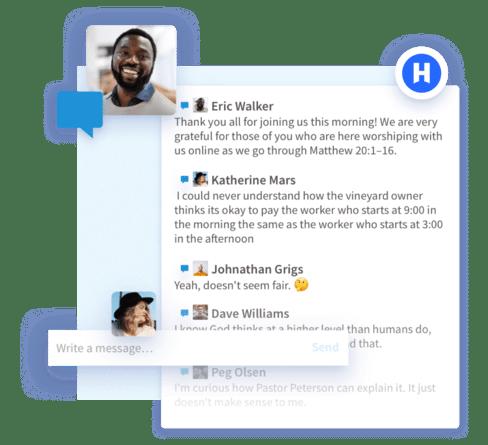 Screenshot of live chat