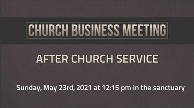 Special Church Buisness Meeting
