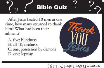 THANK YOU JESUS QUIZ