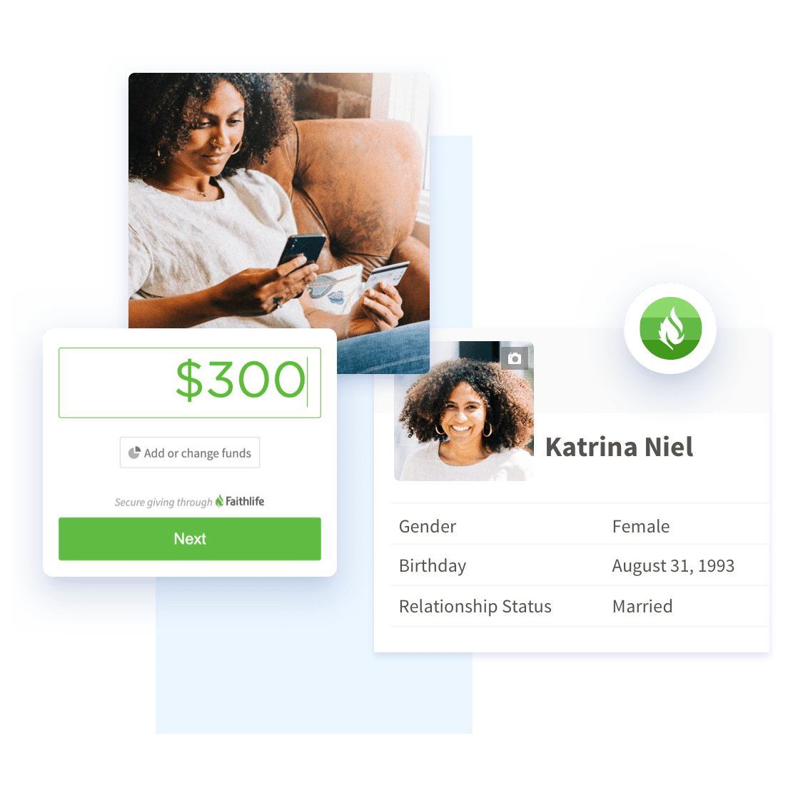 Image collage showing 2 people looking at a phone and the recurring payments menu and the giving form customization menu