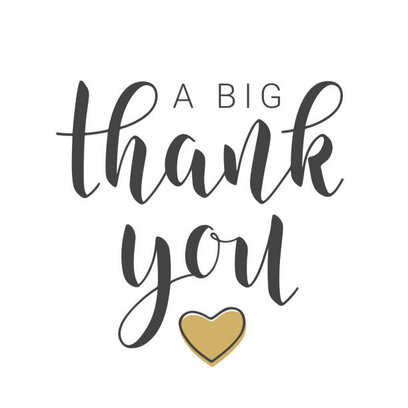 Vector Illustration. Handwritten Lettering of A Big Thank You. Template for Banner, Postcard, Poster, Print, Sticker or Web Product. Objects Isolated on White Background.