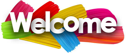Welcome poster with colorful watercolor brush strokes. Vector paper illustration.