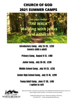 CHURCH OF GOD 2021 SUMMER CAMPS