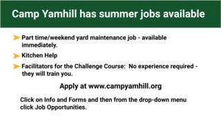 Camp Yamhill Has Summer Jobs Available