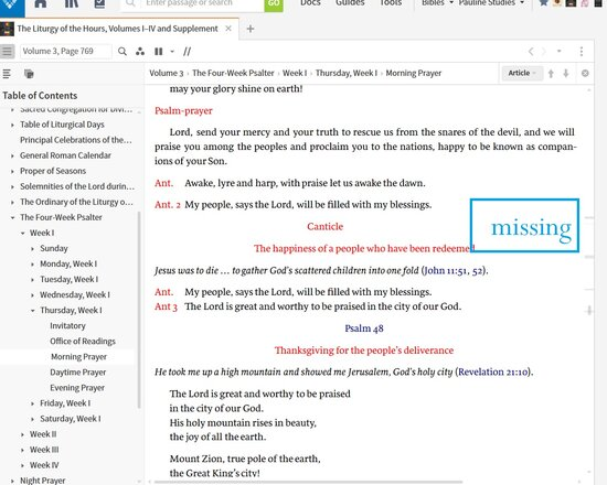 Missing Ref In LOTH Vol 3 Thursday Wk 1 Of Psalter