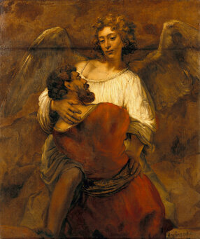 1717Px Rembrandt - Jacob Wrestling With The Angel - Google Art Project