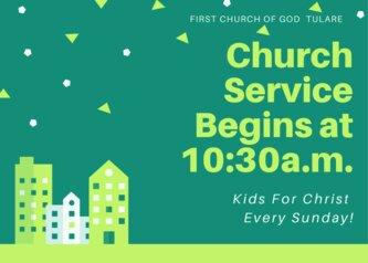 church service begins at 10:30 a.m.