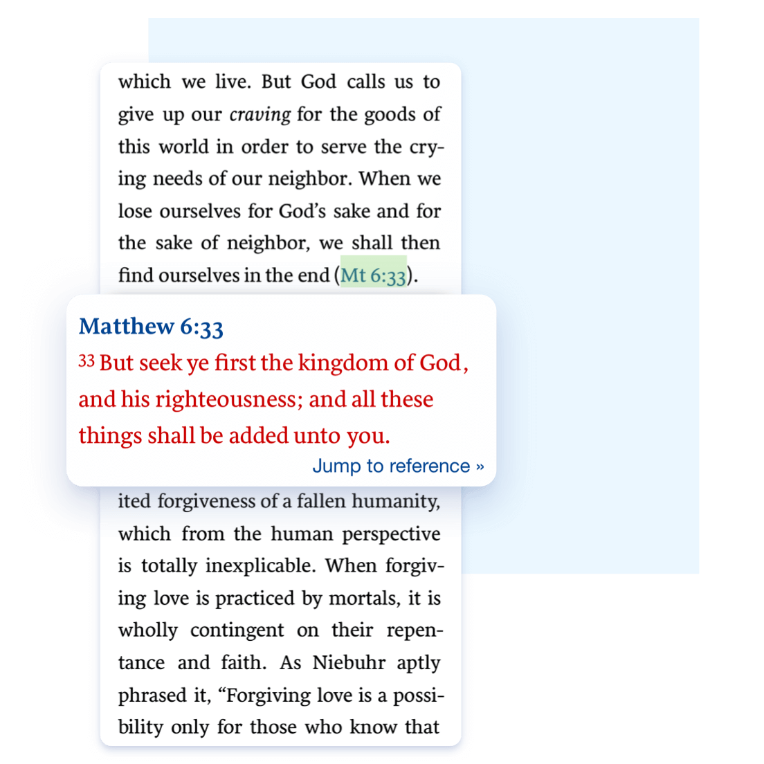 One-tap Bible verse lookup