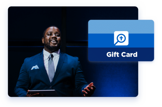 An image of a pastor using Logos on his iPad to help him deliver a sermon. A graphic representing a Logos digital gift card is overlaid on top of the image.