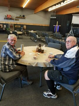Jim & David Playing Cribbage