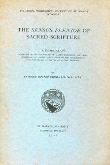 The Sensus Plenior of Sacred Scripture