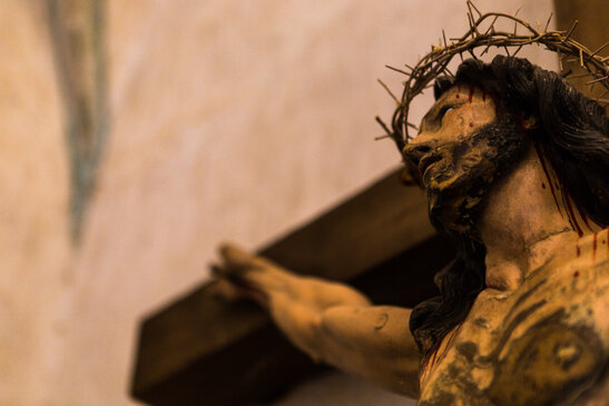 Jesus on the Cross with crown of thorns