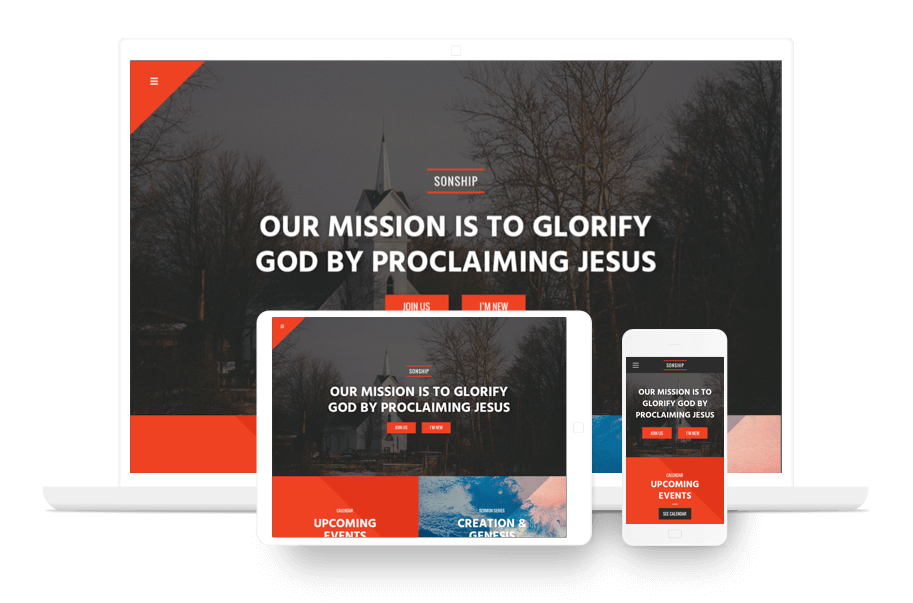 mobile church website example