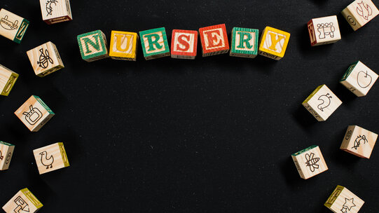 Children's building blocks spelling nursery