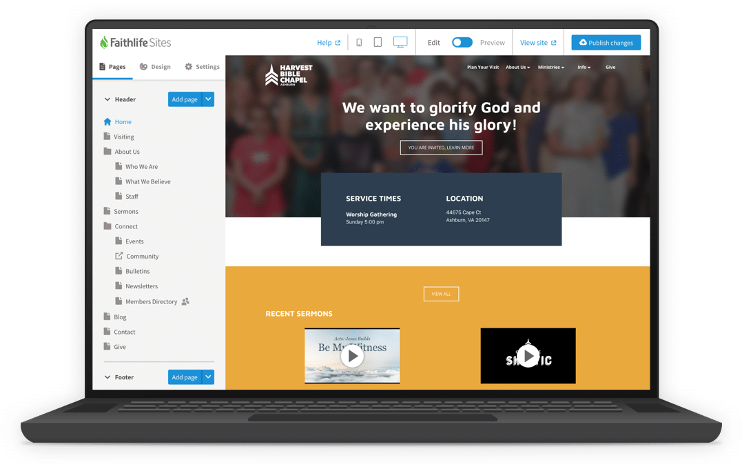 Church website editor | Faithlife Sites