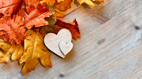 Wooden Hearts and Autumn Leaves