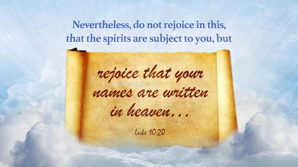 Kuvahaun tulos haulle Luke 10:20
